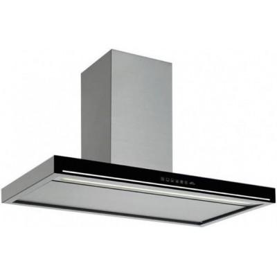 Островная кухонная вытяжка Falmec BLADE isola 90 inox vetro nero (800) Нержавеющая сталь и черное стекло
