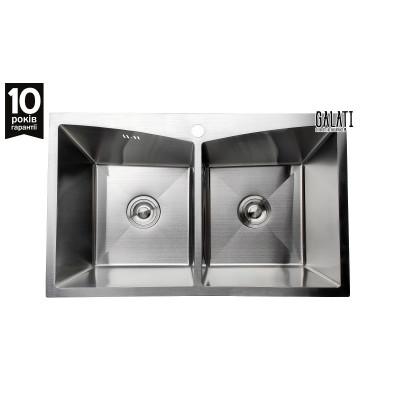 Кухонная мойка с нержавеющей стали Galati Arta U-730D матовая под столешницу (3438)